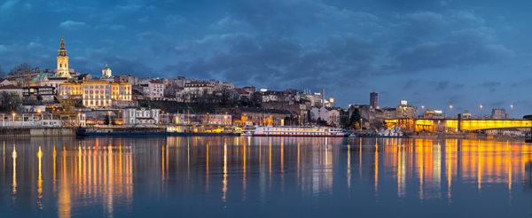 Sava River Belgrade Cathedral By Night Panorama 1