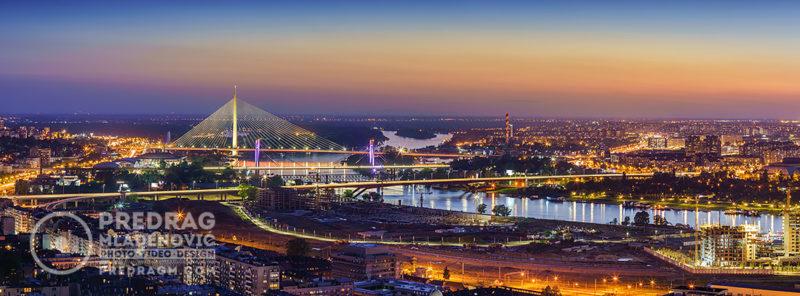 Ada-bridge,-Gazela-bridge,-Sava-river-Belgrade-by-night