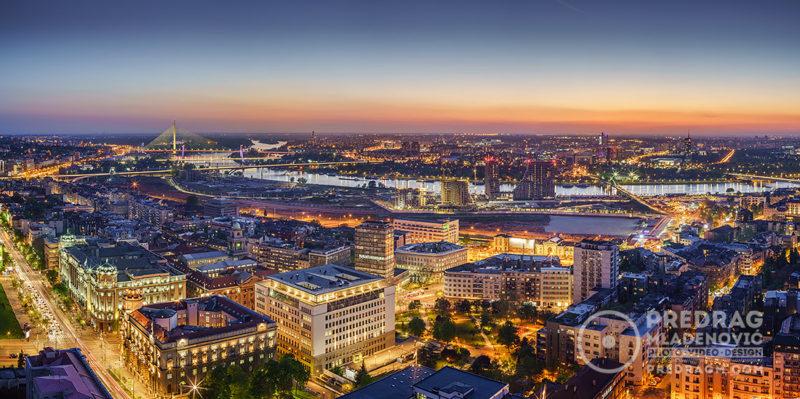 Belgrade-downtown,-Ada,-Gazela-bridges,-Sava-River-Waterfront-aerial-panorama