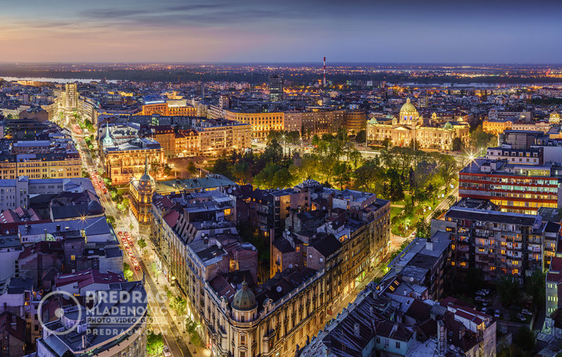 Belgrade-downtown,-Terazije-square,-House-of-the-National-Assembly-of-the-Republic-of-Serbia