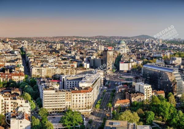 Belgrade-Slavia-Square-Vracar-Avala-Mountain-aerial-afternoon-view