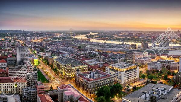 Belgrade-downtown-Ada-bridge-dusk-aerial-panorama-1