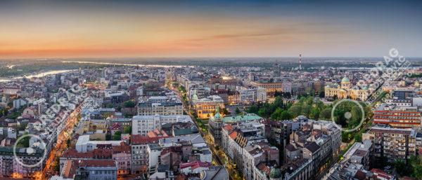Belgrade-downtown-dusk-aerial-panorama-1
